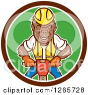 Clipart Of A Cartoon Gorilla Construction Worker Operating A Jackhammer In A Brown White And Green Circle Royalty Free Vector Illustration