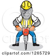 Cartoon Gorilla Construction Worker Operating A Jackhammer