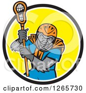 Cartoon Gorilla Lacrosse Player In A Black White And Yellow Circle