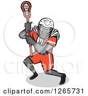 Cartoon Gorilla Lacrosse Player