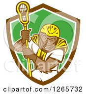 Clipart Of A Cartoon Gorilla Lacrosse Player In A Brown White And Green Shield Royalty Free Vector Illustration by patrimonio