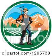 Clipart Of A Retro Woodcut White Male Farmer With A Rake On A Farm Inside A Circle Royalty Free Vector Illustration