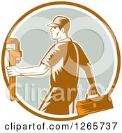 Poster, Art Print Of Retro Woodcut Male Plumber Carrying A Monkey Wrench And Tool Box In A Brown White And Green Circle