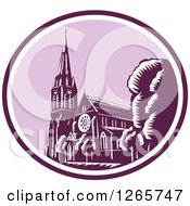 Clipart Of A Retro Woodcut Scene Of The Christchurch Cathedral Before The Earthquake In New Zealand Royalty Free Vector Illustration by patrimonio
