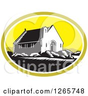 Clipart Of A Retro Woodcut Scene Of The Church Of Good Shepherd In Lake Tekapo New Zealand Royalty Free Vector Illustration by patrimonio