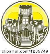 Clipart Of A Retro Woodcut Scene Of The Larnach Castle In Dunedin New Zealand Royalty Free Vector Illustration