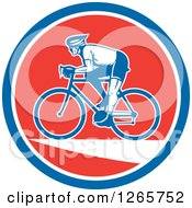 Retro Male Cyclist In A Blue White And Red Circle