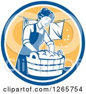Clipart Of A Retro Housewife Woman Doing Laundry In A Blue White And Yellow Circle Royalty Free Vector Illustration