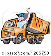 Clipart Of A Cartoon White Male Dump Truck Driver Waving Royalty Free Vector Illustration