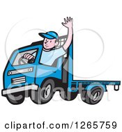 Clipart Of A Cartoon White Male Flatbed Truck Driver Waving Royalty Free Vector Illustration by patrimonio