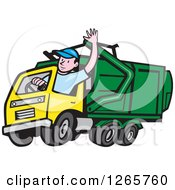 Cartoon White Male Garbage Truck Driver Waving