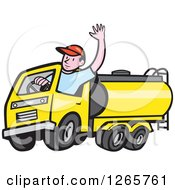 Clipart Of A Cartoon White Male Tanker Truck Driver Waving Royalty Free Vector Illustration
