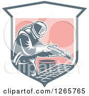 Clipart Of A Retro Woodcut Sandblaster Working In A Shield Royalty Free Vector Illustration by patrimonio