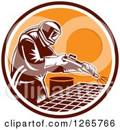 Clipart Of A Retro Woodcut Sandblaster Working In A Marroon White And Orange Circle Royalty Free Vector Illustration by patrimonio