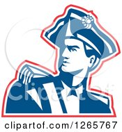Clipart Of A Red White And Blue American Revolution Patriot Soldier Royalty Free Vector Illustration
