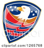 Clipart Of A Bald Eagle In An American Shield Royalty Free Vector Illustration