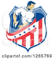 Clipart Of A Retro Male Rugby Player In An American Flag Shield Royalty Free Vector Illustration