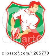 Clipart Of A Retro Male Rugby Player In A Gray Red White And Green Shield Royalty Free Vector Illustration