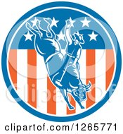 Clipart Of A Retro Male Rodeo Cowboy On A Bucking Bull In An American Flag Circle Royalty Free Vector Illustration