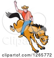 Clipart Of A Cartoon Male Rodeo Cowboy On A Bucking Horse Royalty Free Vector Illustration