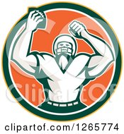 Clipart Of A Retro Cheering American Football Player In A Yellow Green White And Orange Circle Royalty Free Vector Illustration by patrimonio