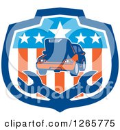 Car And Crossed Wrenches In An American Flag Shield