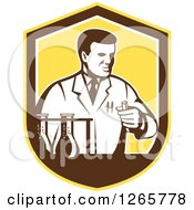 Clipart Of A Retro Scientist Working With Lab Equipment In A Yellow Brown And White Shield Royalty Free Vector Illustration