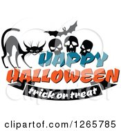 Clipart Of A Happy Halloween Trick Or Treat Cat Bat And Skulls Design Royalty Free Vector Illustration by Vector Tradition SM