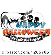 Poster, Art Print Of Happy Halloween Trick Or Treat Cat Bat And Skulls Design