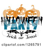 Clipart Of A Halloween Party Trick Or Treat Design With A Bat And Jackolanterns Royalty Free Vector Illustration