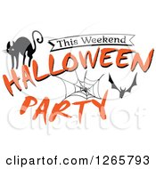 Clipart Of A Cat Bat And Spider Web This Weekend Halloween Party Text Royalty Free Vector Illustration