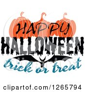 Clipart Of A Happy Halloween Trick Or Treat Bat And Pumpkin Design Royalty Free Vector Illustration