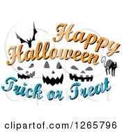 Clipart Of A Happy Halloween Trick Or Treat Bat Cat And Jackolantern Face Design Royalty Free Vector Illustration