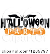 Clipart Of A Bat And Halloween Party Text Royalty Free Vector Illustration