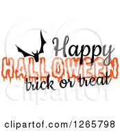 Clipart Of A Happy Halloween Trick Or Treat Flying Bat Design Royalty Free Vector Illustration