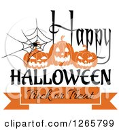 Clipart Of A Happy Halloween Trick Or Treat Spider And Pumpkin Design Royalty Free Vector Illustration by Vector Tradition SM