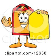 Price Tag Mascot Cartoon Character Holding A Yellow Sales Price Tag