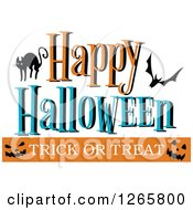 Clipart Of A Happy Halloween Trick Or Treat Cat Bat And Jackolantern Faces Design Royalty Free Vector Illustration by Vector Tradition SM