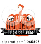 Clipart Of A Happy Halloween Trick Or Treat Skull And Pumpkin Design Royalty Free Vector Illustration