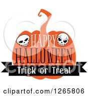 Poster, Art Print Of Happy Halloween Trick Or Treat Skull And Pumpkin Design