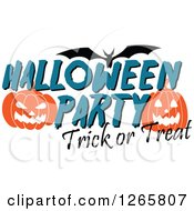 Clipart Of A Flying Bat With Jackolanterns And Halloween Party Trick Or Treat Text Royalty Free Vector Illustration