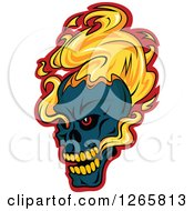 Clipart Of A Navy Blue Demonic Skull On Fire Over Red Royalty Free Vector Illustration