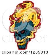Poster, Art Print Of Navy Blue Demonic Skull On Fire Over Red