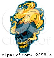 Clipart Of A Demonic Skull On Fire Over Blue Royalty Free Vector Illustration
