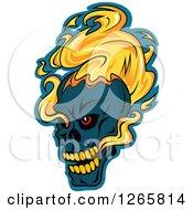 Poster, Art Print Of Demonic Skull On Fire Over Blue