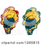 Clipart Of Demonic Skulls On Fire Over Red And Blue Royalty Free Vector Illustration