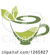 Poster, Art Print Of Cup Of Green Tea With Leaves