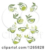 Poster, Art Print Of Green Tea Cups And Pots With Leaves