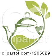 Clipart Of A Green Tea Pot With Leaves Royalty Free Vector Illustration by Vector Tradition SM