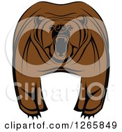 Clipart Of A Brown Bear Roaring Royalty Free Vector Illustration